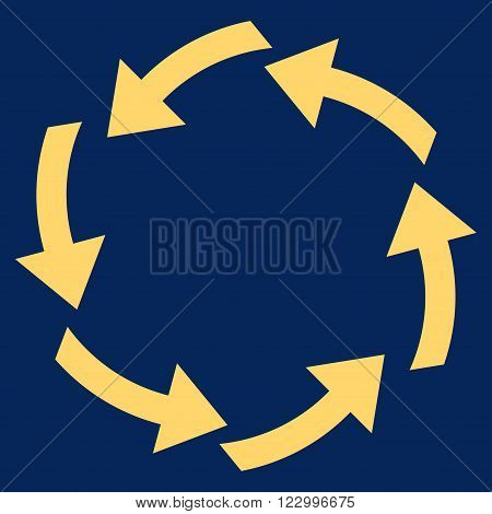 Circulation vector icon. Image style is flat circulation icon symbol drawn with yellow color on a blue background.