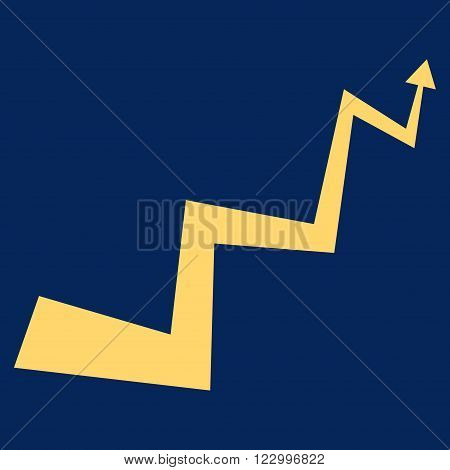 Curve Arrow vector pictogram. Image style is flat curve arrow pictogram symbol drawn with yellow color on a blue background.