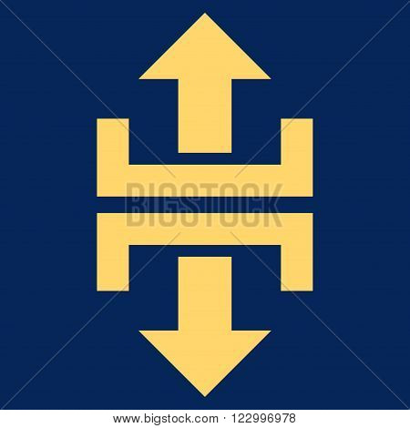 Divide Vertical Direction vector icon symbol. Image style is flat divide vertical direction icon symbol drawn with yellow color on a blue background.