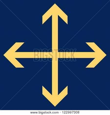 Expand Arrows vector icon symbol. Image style is flat expand arrows pictogram symbol drawn with yellow color on a blue background.