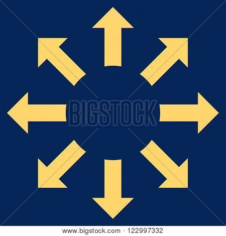 Expand Arrows vector pictogram. Image style is flat expand arrows pictogram symbol drawn with yellow color on a blue background.