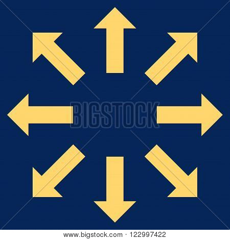 Explode Arrows vector symbol. Image style is flat explode arrows icon symbol drawn with yellow color on a blue background.