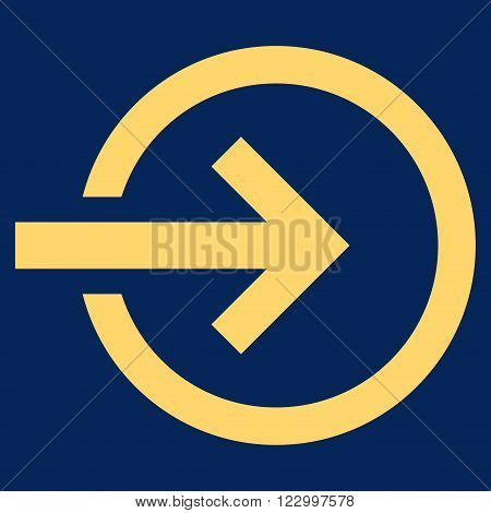 Import vector icon symbol. Image style is flat import icon symbol drawn with yellow color on a blue background.