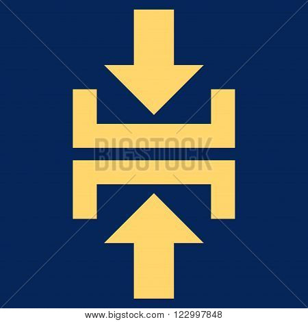 Press Vertical Direction vector symbol. Image style is flat press vertical direction icon symbol drawn with yellow color on a blue background.