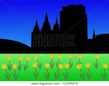 Salt Lake city skyline in spring with daffodils illustration JPEG