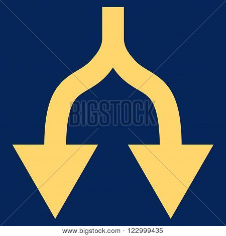Split Arrows Down vector icon symbol. Image style is flat split arrows down iconic symbol drawn with yellow color on a blue background.