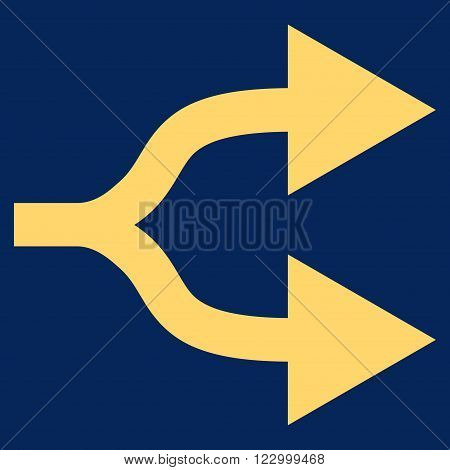 Split Arrows Right vector icon. Image style is flat split arrows right iconic symbol drawn with yellow color on a blue background.
