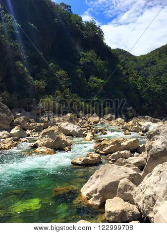 Rocky Part of Tinipak River in Tanay Rizal Philippines