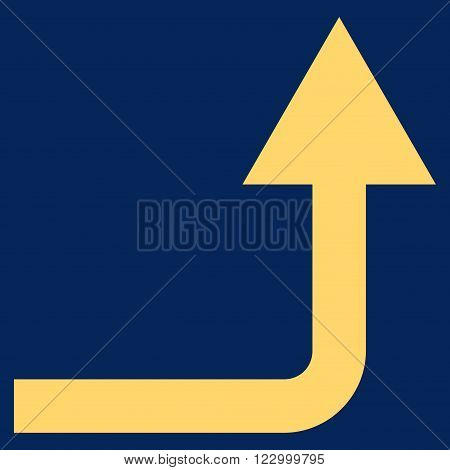 Turn Forward vector icon symbol. Image style is flat turn forward pictogram symbol drawn with yellow color on a blue background.