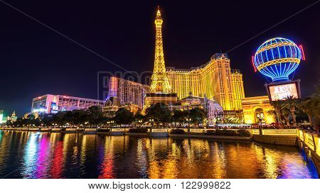 LAS VEGAS, NV - MARCH 26: Paris Las Vegas hotel from fountains of Bellagio on  March 26, 2015 in Las Vegas, NV.