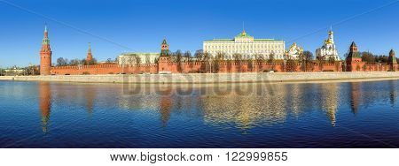 Panoramic view to the Moscow Kremlin and the river, Moscow, Russia