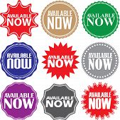 Available Now Signs Set, Available Now Sticker Set, Vector Illustration poster