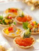 stock photo of fruit platter  - Christmas starter platter with appetizers - JPG