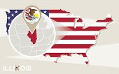Usa Map With Magnified Illinois State. Illinois Flag And Map. poster