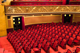 stock photo of movie theater  - chairs in classic theater performance hall - JPG