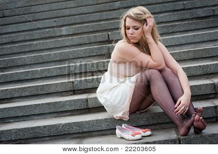 Sad Lonely Girl Sitting