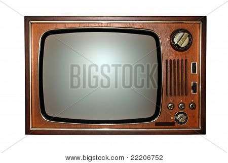 Vintage: old wooden television, tv
