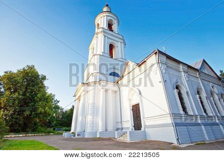 Old russian church under evening sky. fisheye lens
