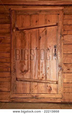 Solid Wooden Door With A Metal Handle