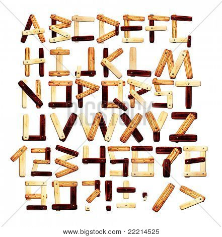 Alphabet - letters from wooden boards. Isolated over white