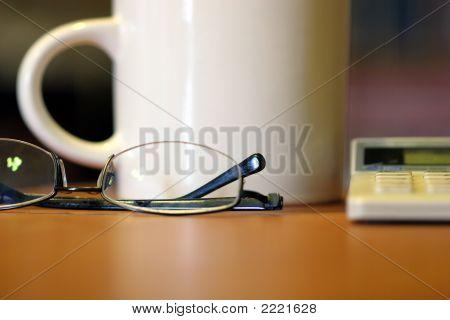 Glasses Coffee Mug Calculator Desk