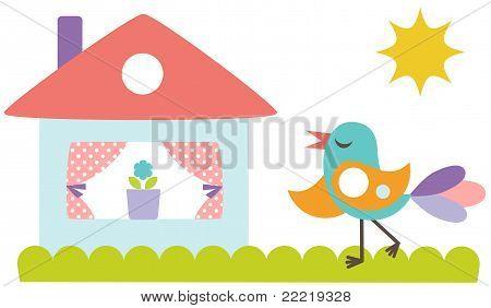 Cute bird with the house