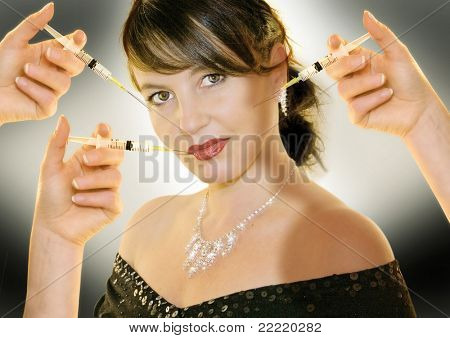 woman with syringes in her face