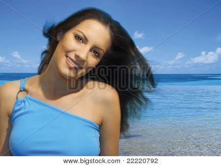 beautiful girl by the blue ocean. More pictures of her in my portfolio.
