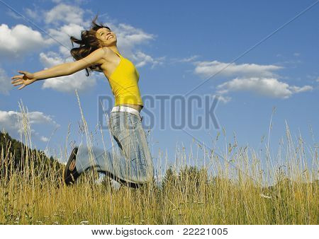 girl in high grass on a sunny day. unique keyword for this collection: grassland77