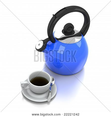 Blue Kettle and Coffee Cup