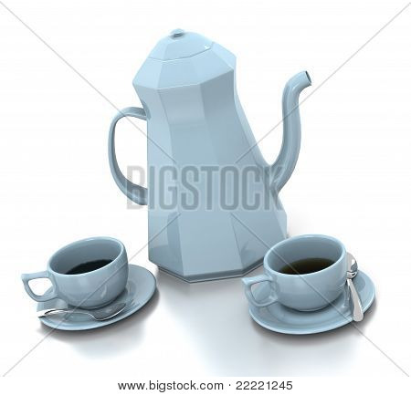 Light Blue Coffee Set