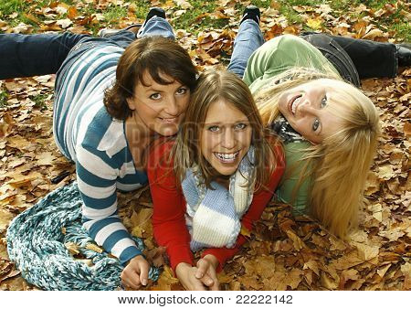 "three pretty girls having fun. keyword for this collection is ""autumn77"""