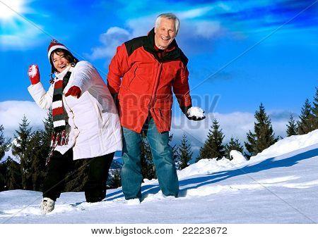 senior-couple having fun in wintertime