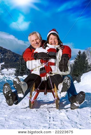 senior-couple having fun in wintertime