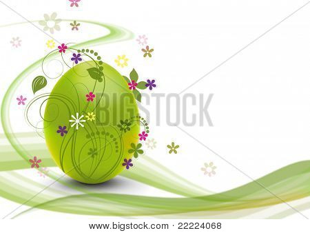 green easteregg with white background ans swirls for making a postcard