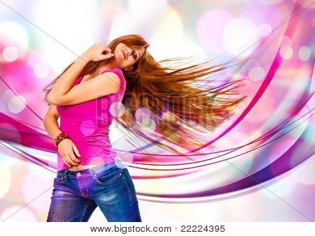 young girl dancing in discolight