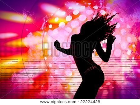 dancing silhouette of girl in a nightclub