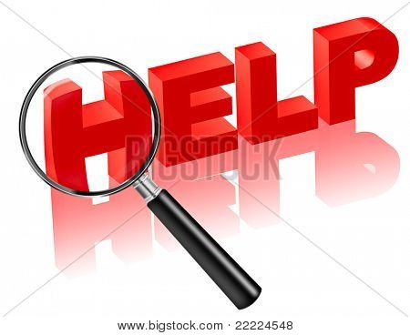 help search, find online support on internet help desk. Red text with magnifying glass. help button
