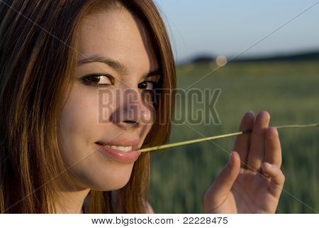 Young Woman And Straw
