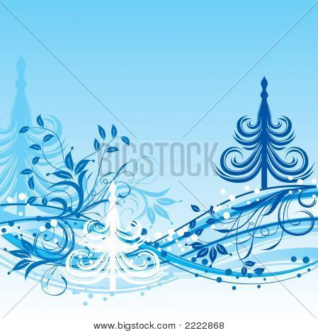 Christmas Tree, Winter Background