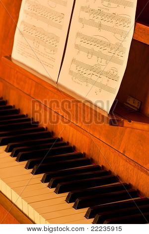Piano With Sheetmusic In Low Light