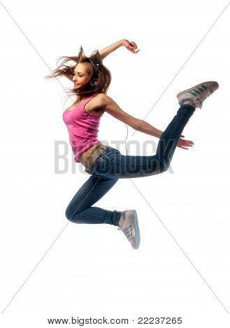 Girl In Headphones Jumps