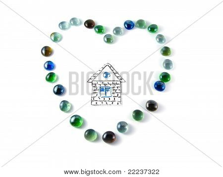 Stone Mosaic In The Shape Of A Heart With House Inside