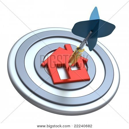 Dart on house target. Dart hit the center of house icon isolated on white background. Computer generated 3D photo rendering.