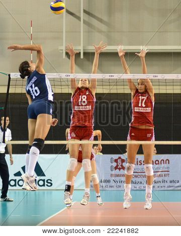 DEBRECEN, HUNGARY - JULY 8: Anita Filipovics (in red 17) in action at a CEV European League woman's volleyball game Hungary (Red) vs Israel (Blue) on July 8, 2011 in Debrecen, Hungary.