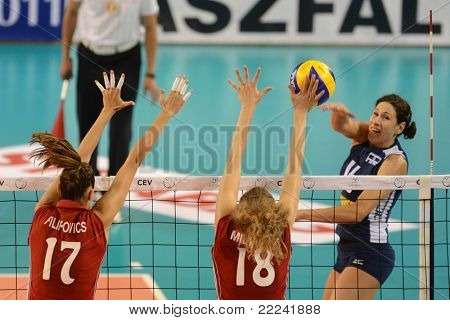 DEBRECEN, HUNGARY - JULY 8: Júlia Milovits (in red 18) in action at a CEV European League woman's volleyball game Hungary (Red) vs Israel (Blue) on July 8, 2011 in Debrecen, Hungary.