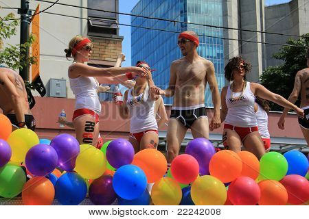 VANCOUVER BRITISH COLUMBIA, CANADA - JULY 31: Colorfully dressed participants during the annual gay pride parade on July 31 2011 in Vancouver, B.C. Canada.