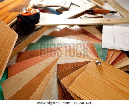 Architect interior designer or carpenter workplace desk with design tools