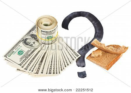 Economy Crisis Of Usa Dollar Currency Concept Photo With Bread Crust On White
