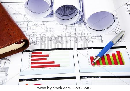 Drawings, Charts And Daily, Business Collage